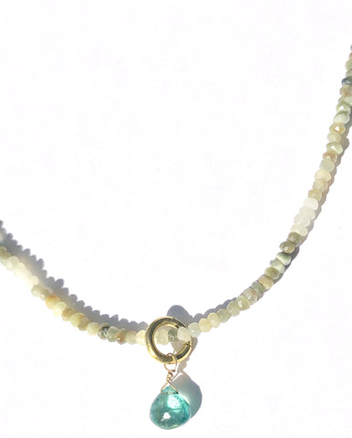 Cat's Eye with Amazonite Drop Necklace