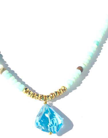 Blue Topaz on Blue Peruvian Opal Necklace - SOLD OUT