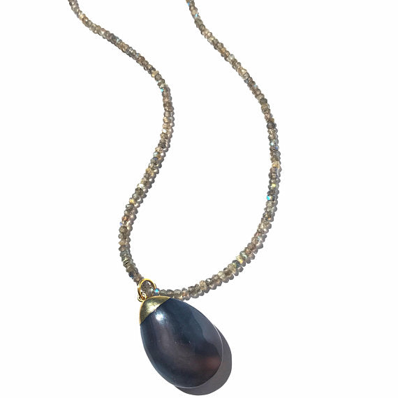 Teardrop Grey Agate Pendant Necklace on Stunning Labradorite Beads