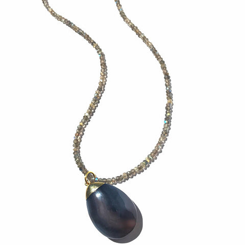 Teardrop Grey Agate Pendant Necklace on Labradorite Beads
