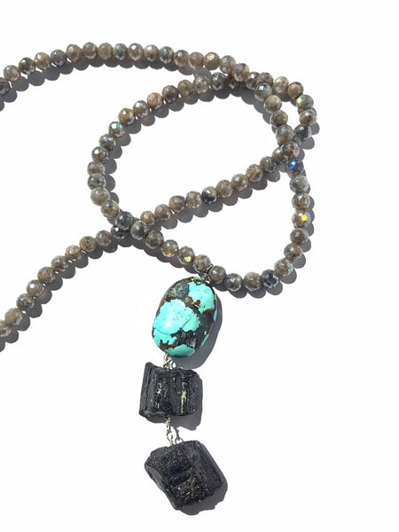 Turquoise and Black Tourmaline Pendant Necklace with Glittering Labradorite Beads