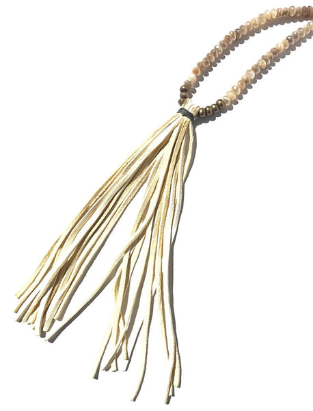 Boho Chic Moonstone Beaded Cream Deer Suede Tassel Necklace