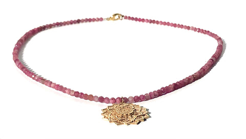 Lotus Flower Pink Tourmaline Necklace