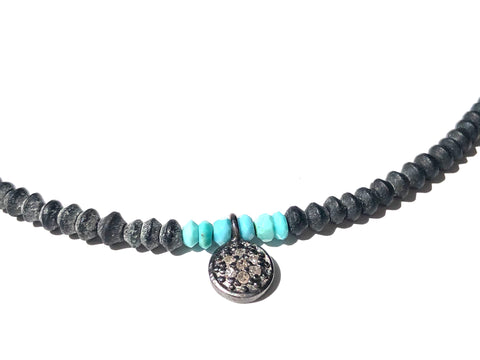 Grey Onyx, Turquoise & Diamond Necklace