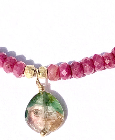 Watermelon Tourmaline & Ruby Necklace