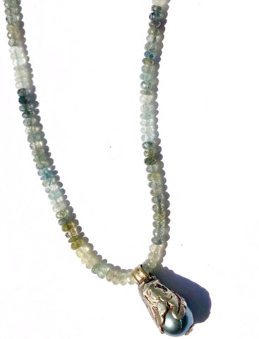 Moss Aquamarine & Pearl Necklace