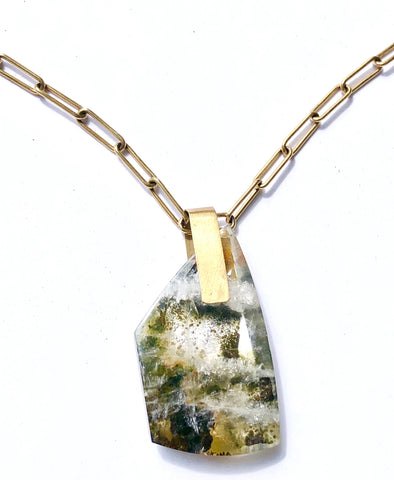 Epidote in Quartz Necklace