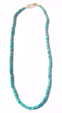 Long Heishi Cut Turquoise Necklace