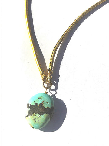 Turquoise Pendant Necklace on Gold Dipped Leather