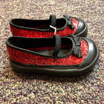 Size 5 Sprockets Black and Red Glitter Shoes