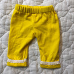 Crop pants- yellow with lace trim