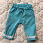 Crop pants- blue with lace trim