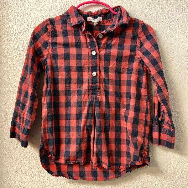 3T Crewcuts Coral Plaid Shirt