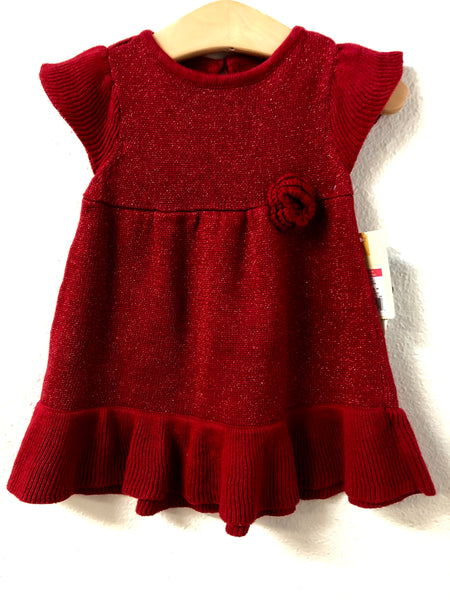 06M Cherokee Red Sparkle Sweater Dress