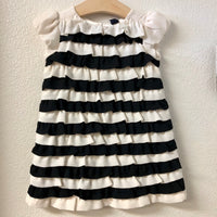 2T Baby Gap Cream and Black Ruffle  Dress