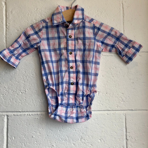 03M Pink Plaid Onesie Shirt