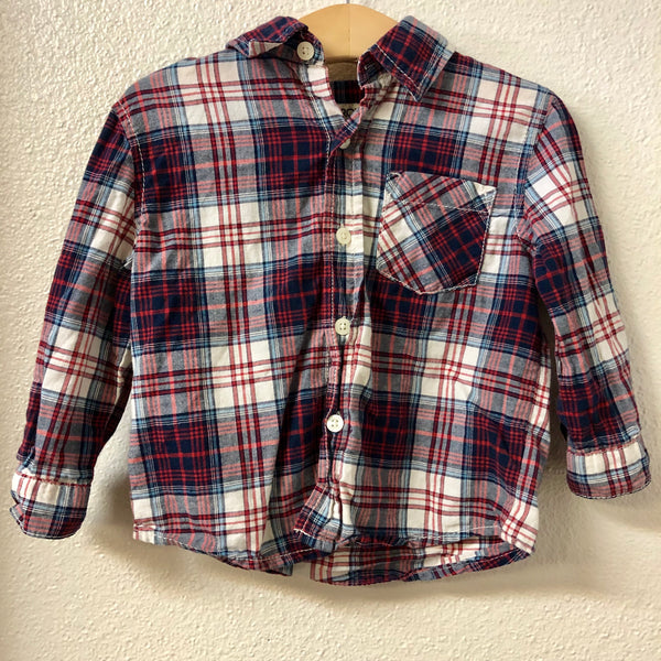 18M Cherokee Red Blue White Plaid Shirt