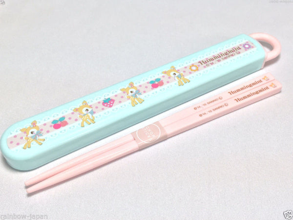 SANRIO Hummingmint Chopsticks With Case Lunch Food Bento Box New Character Japan