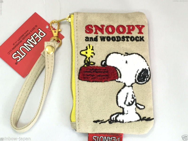 New Pocket ID Card Pass Holder Vintage SNOOPY Peanuts Woodstock Coin Case Wallet