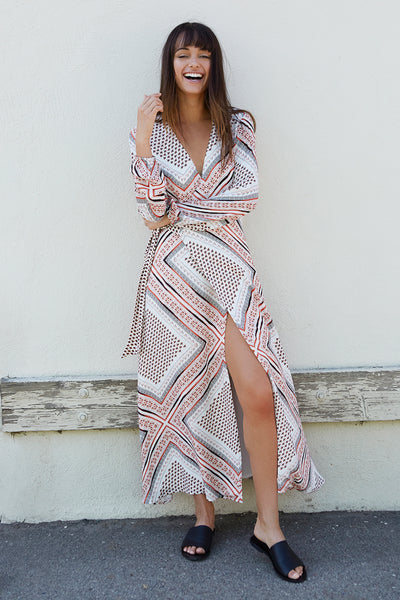ZISSOU PRINT MIDI DRESS