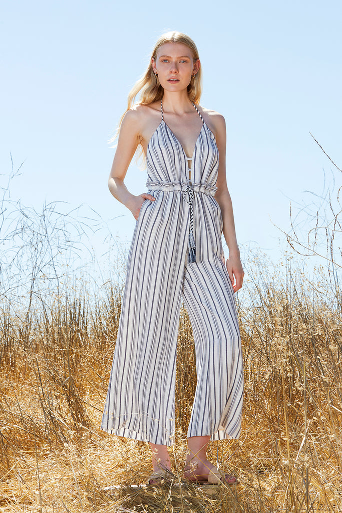 Aries Stripe Jumpsuit in Ivory. - size M (also in L,S,XS) The Jetset Diaries