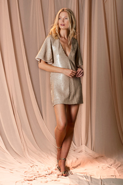 RISING SUN SEQUIN TEE DRESS