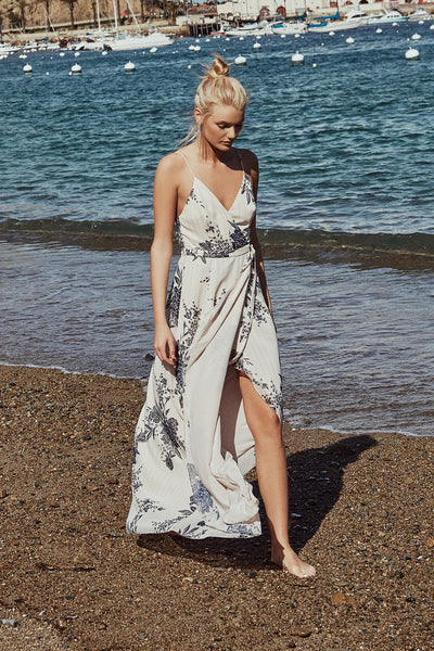 WILD FLOWER WRAP MAXI DRESS