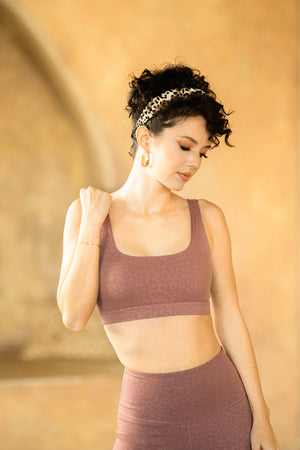 Tone Square Neck Bra - Mauve Cheetah