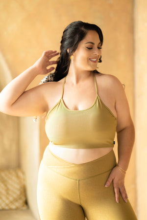 Flexy Ribbed Crop Top - Mustard