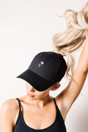 Vintage Rose High Ponytail Cap - Black