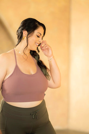 Flexy Ribbed Crop Top - Mauve