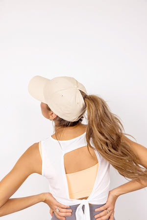 Moon 'n Stars High Ponytail Cap - Oatmeal