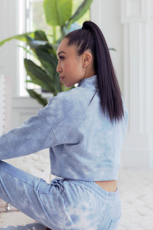 Tie-Dye Cropped Sweatshirt - Dreamy Blue