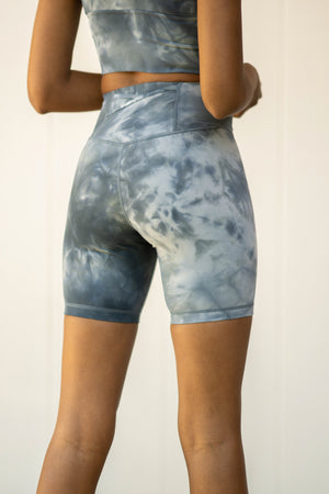 Sculpt Pocket Biker Short - Marine Marble
