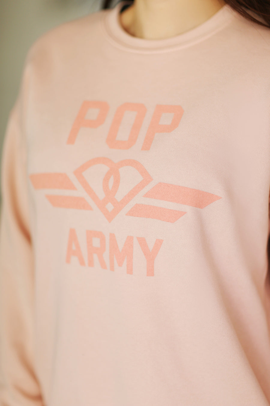 """Pop Army"" Crewneck Sweatshirt - Peach"