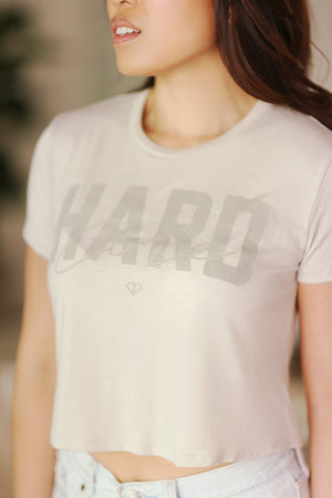 """Hard Core"" Cropped Tee - Oatmeal"
