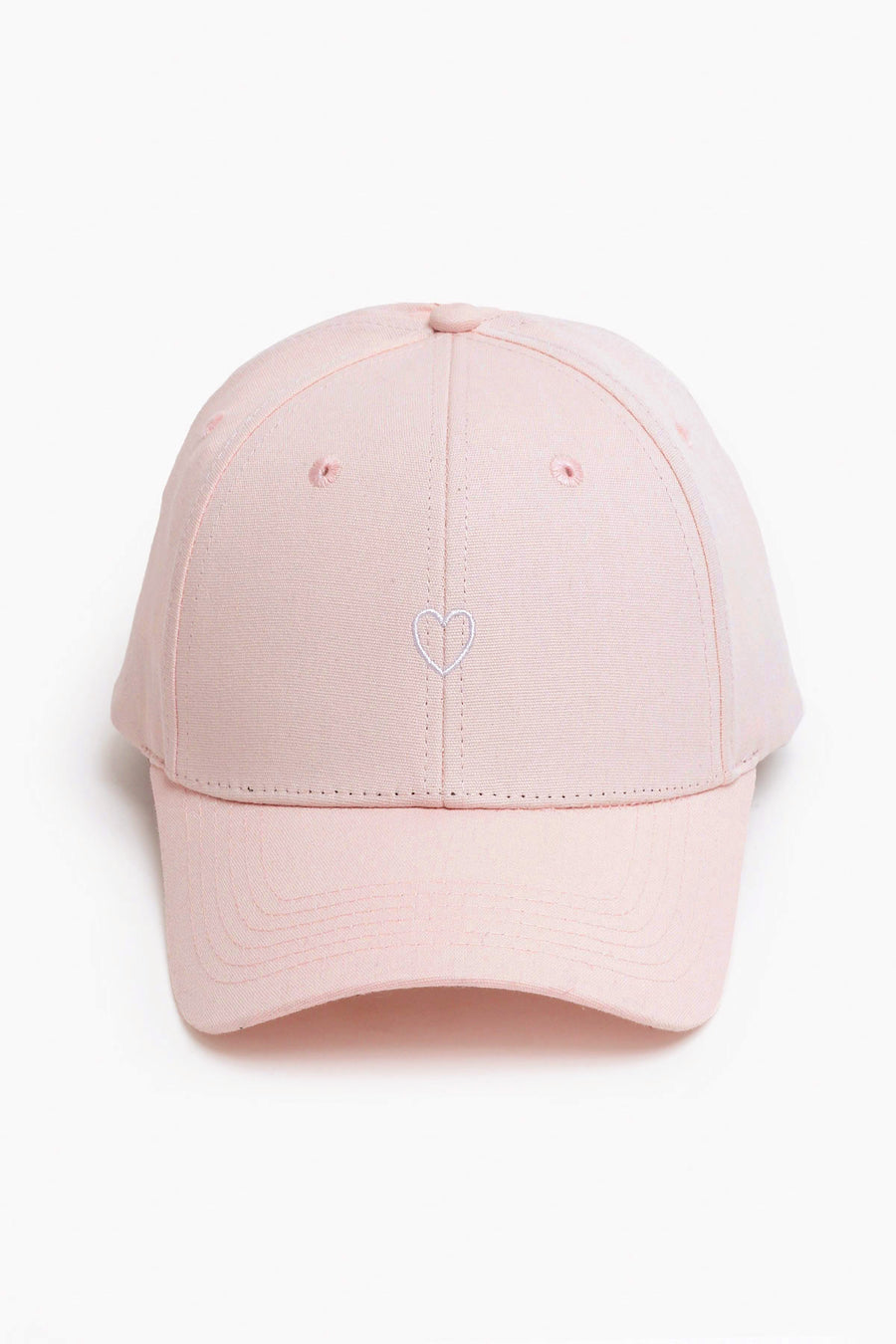Little Heart High Ponytail Cap - Baby Pink