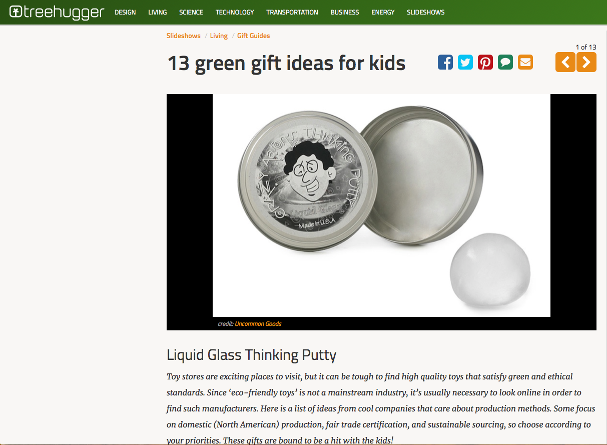 Tree Hugger | 13 Green Gift Ideas for Kids feat. Crazy Aaron's Thinking Putty