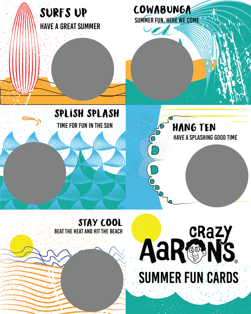 Free Summer Fun Downloadable Cards from Crazy Aaron's