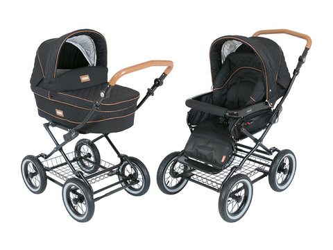 Black/Grey- Designer Kortina Luxury Classic Pram Stroller