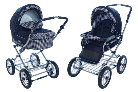 Navy-Chequered Stroller Pram with Bassinet Buggy