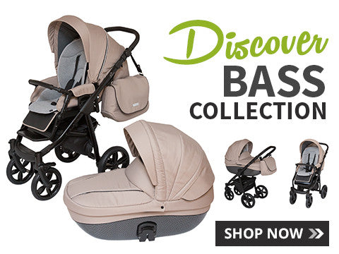 Smoky-Beige Bass Stroller with Bassinet