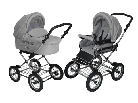 Steely_Gray Stroller Pram with Bassinet Buggy
