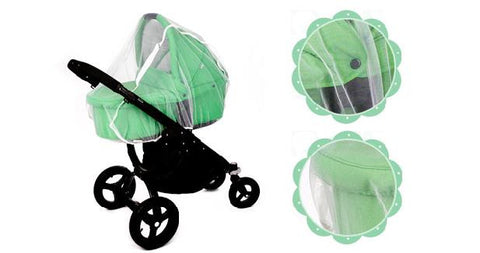 White Baby Stroller Buggy with Bassinet Mosquito Net
