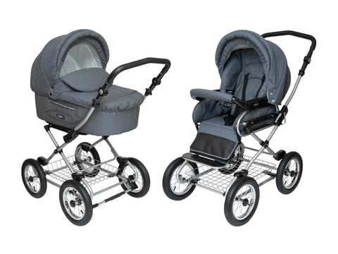 Smokey_Grey_with_Dots Stroller Pram with Bassinet Buggy