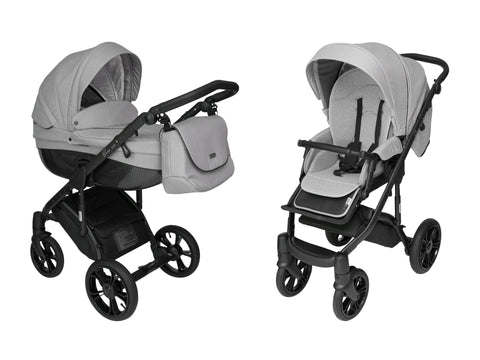 Steely-Gray Stroller Pram with Bassinet Buggy
