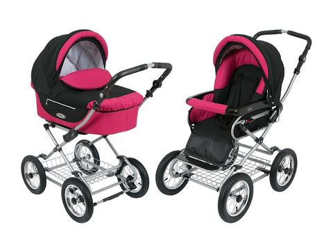 Kortina Pram Stroller Raspberry - Graphite color