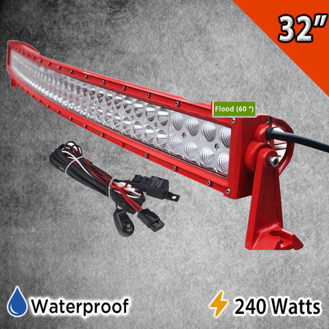 32'' 240W Red Curved Combo Spot Flood LED Light Bar With Harness