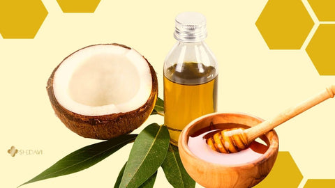 Image of coconut, honey, and oil