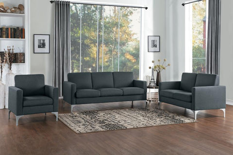 Dark Grey fabric sofa and loveseat